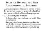 rules for husband and wife unincorporated businesses