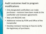 audit outcomes lead to program modifications