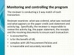 monitoring and controlling the program7