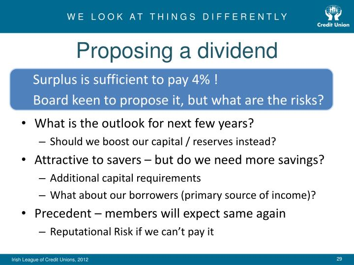 Proposing a dividend