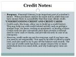 credit notes