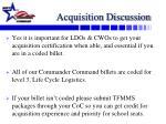 acquisition discussion