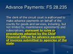 advance payments fs 28 235