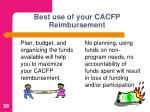 best use of your cacfp reimbursement