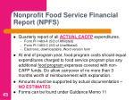 nonprofit food service financial report npfs