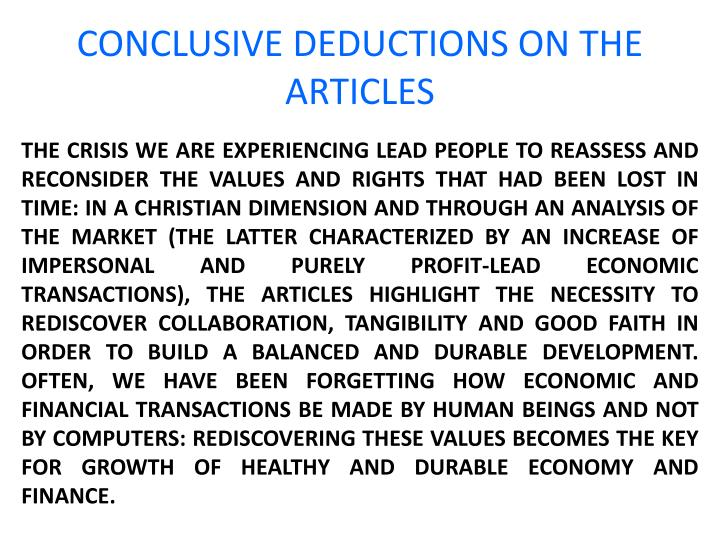 CONCLUSIVE DEDUCTIONS ON THE ARTICLES