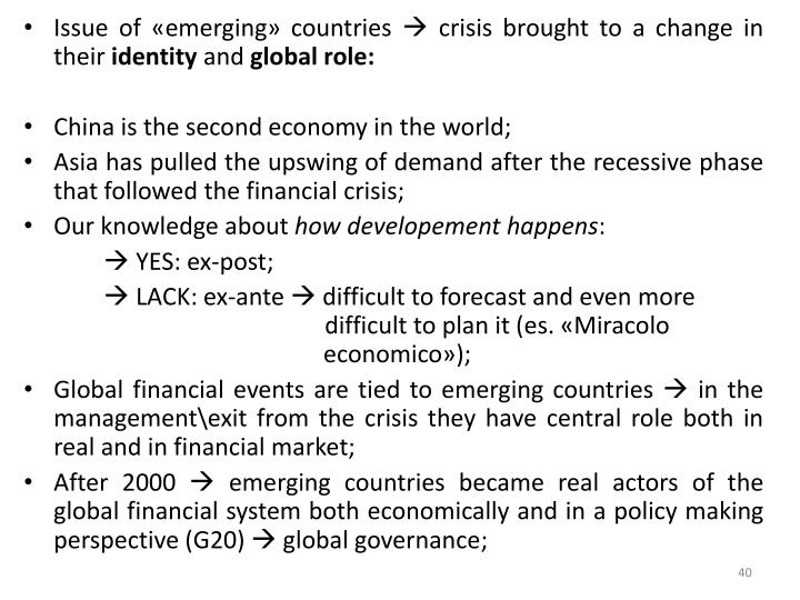 Issue of «emerging» countries