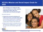 ncoa s mission and social impact goals for 2020