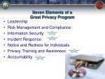 seven elements of a great privacy program