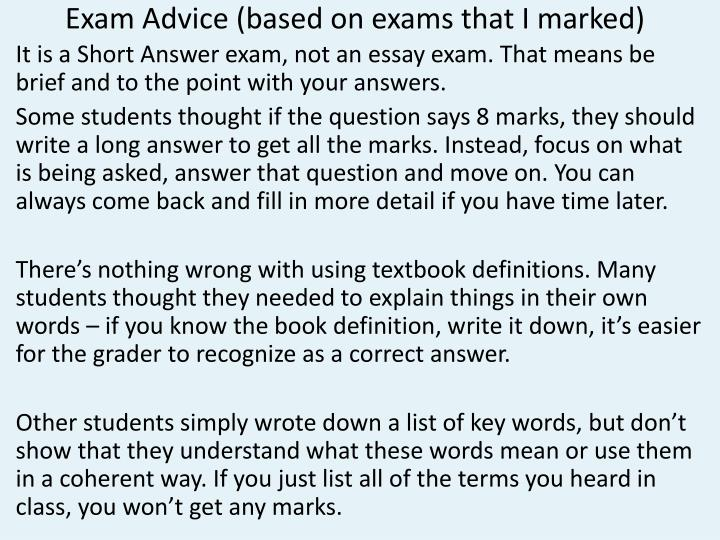 Exam Advice (based on exams that I marked)