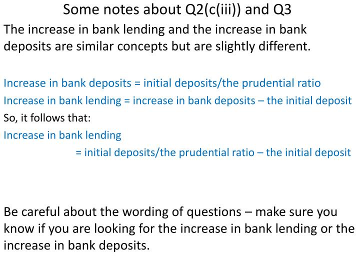 Some notes about Q2(c(iii)) and Q3