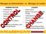 manager as administrator vs manager as leader