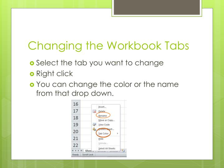 Changing the Workbook Tabs