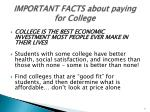 important facts about paying for college
