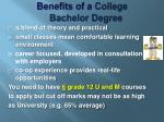 benefits of a college bachelor degree