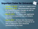 important dates for university