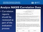 analyze nasis correlation data