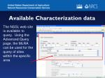 available characterization data