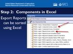 step 2 components in excel