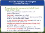 financial management during the economic crisis cont