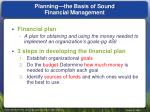 planning the basis of sound financial management