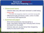 sources of unsecured short term financing cont