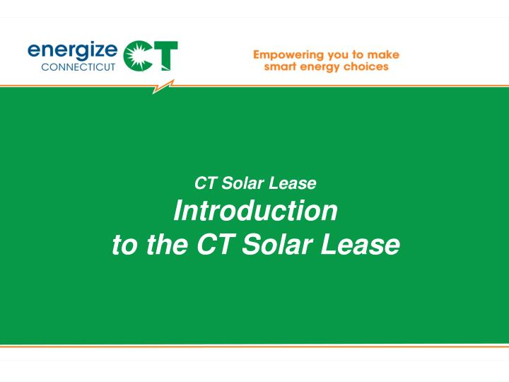 CT Solar Lease