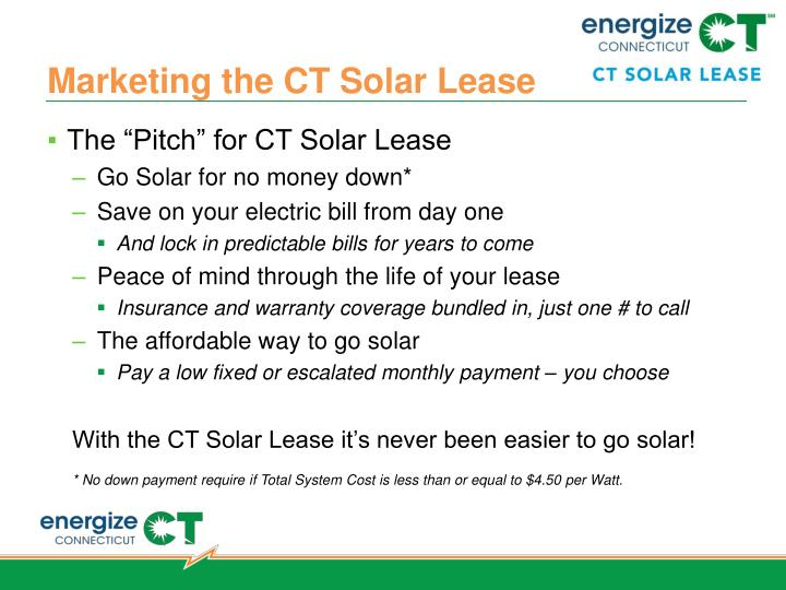Marketing the CT Solar Lease