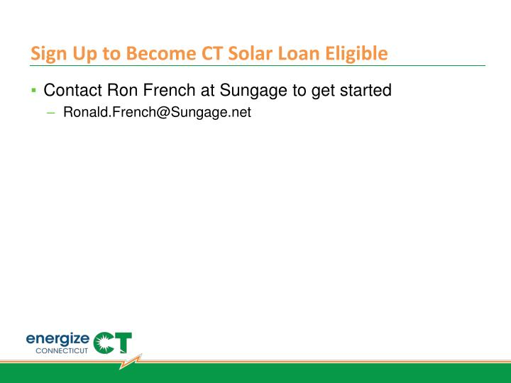 Sign Up to Become CT Solar Loan Eligible