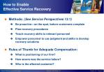 how to enable effective service recovery