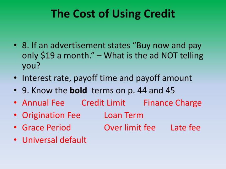 The Cost of Using Credit