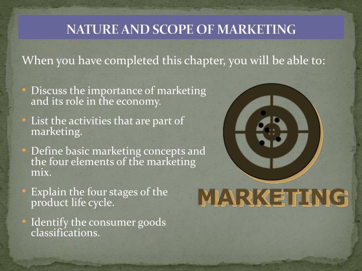 nature and scope of marketing n.