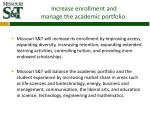 increase enrollment and manage the academic portfolio