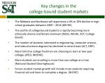 key changes in the college bound student markets
