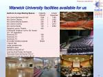 warwick university facilities available for us