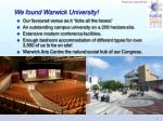 we found warwick university