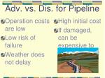 adv vs dis for pipeline