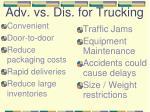 adv vs dis for trucking