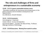 the role and challenges of firms and entrepreneurs in a sustainable economy
