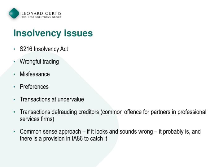 Insolvency issues