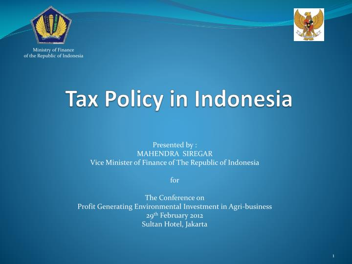 tax policy in indonesia n.