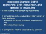 integration example sbirt screening brief intervention and referral to treatment