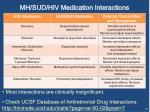 mh sud hiv medication interactions