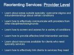 reorienting services provider level