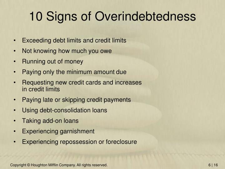 10 Signs of Overindebtedness