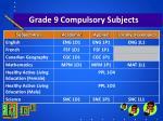 grade 9 compulsory subjects