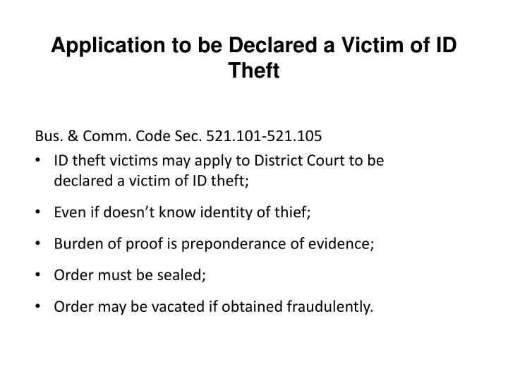 Application to be Declared a Victim of ID Theft