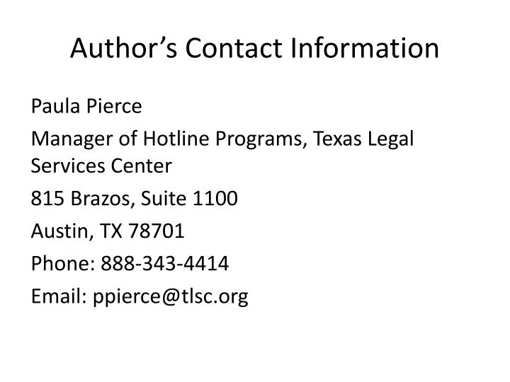 Author's Contact Information