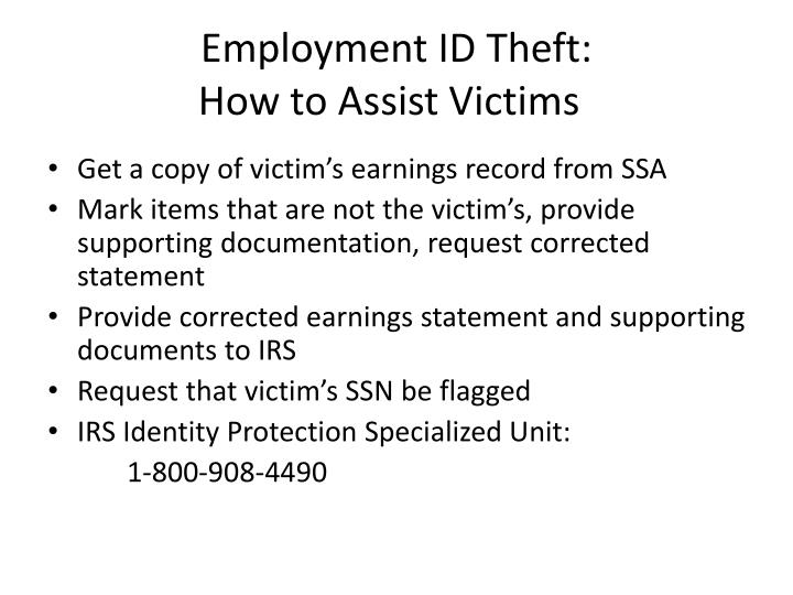Employment ID Theft: