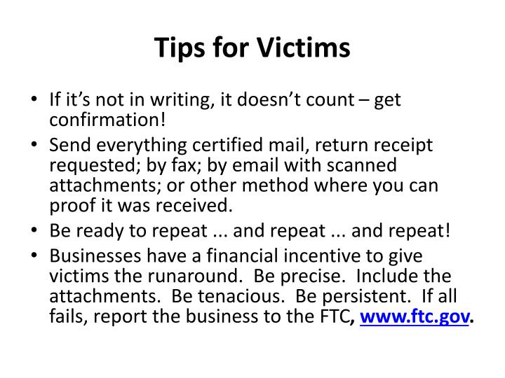 Tips for Victims